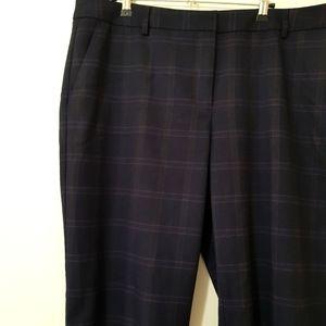 Sportscraft blue maroon check straight trousers 16